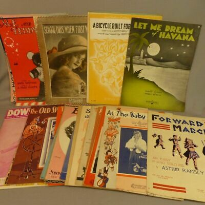 VINTAGE PIANO SHEET Music - Lot of 22 Marches - Intermediate