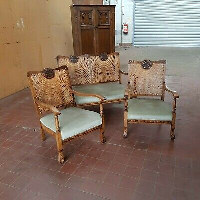 Antique Oak Bergere 3 Piece Suite/Parlour Suite/Sofa & 2 Chairs/ 2 Seater Sofa