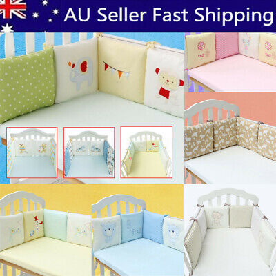 6PCs Breathable Baby Crib Bumper Comfy Cotton Infant Toddler Bed Protector AU