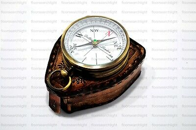 Antique Brass Dollond London 1920 Compass Marine Compass With Leather Case