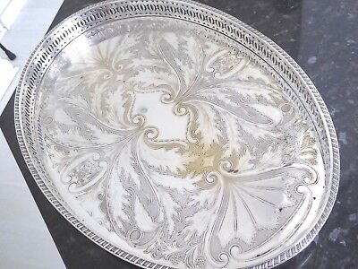 Vintage Chased Silver Plate Oval  Glasses  Drinks Tray Pierced Gallery 16 X 11