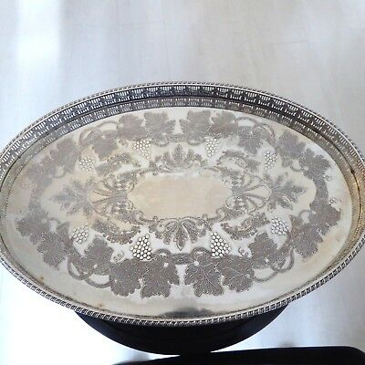 Chased Fruiting Vines Silver Plate Tray Pierced Gallery 17.75 X 11.75 Inc Viners