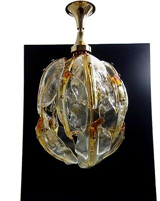 Amazing & Rare Mid Century Vintage Murano Glass Leaves Chandelier 1970s