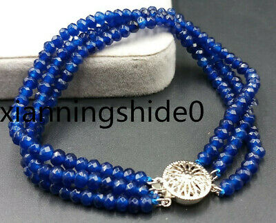 NATURAL 3 Rows 2X4mm FACETED Sapphire BEADS NECKLACE 17-19/'/' JN1380