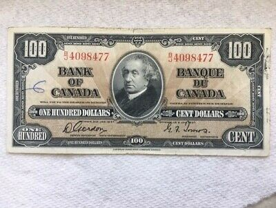 1937 Bank Of Canada 100 Dollar Bill
