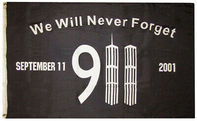 3x5 We Will Never Forget 911 Memorial Black 3'x5' Rough Tex 100D Oxford Poly