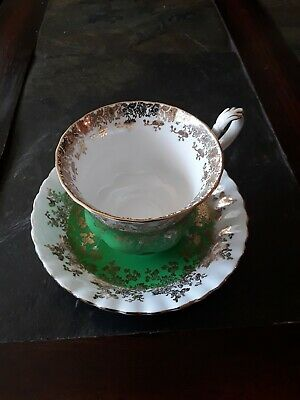 Royal Albert Regal Series Tea Cup and Saucer Green White and gold