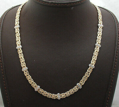 Technibond Bar Stationed Byzantine Chain Necklace 14K Yellow Gold Clad Silver
