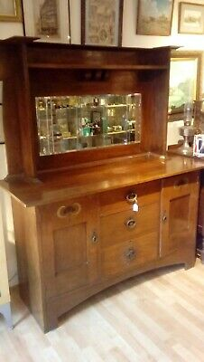 Antique Arts And Crafts Large Solid Oak Sideboard