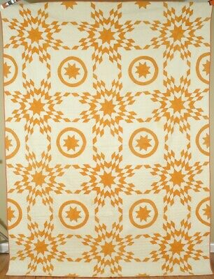 MAGNIFICENT Vintage 1880's Cheddar Yellow & White Stars & Circles Antique Quilt!