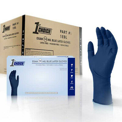 1st Choice Blue 14-Mil Thick Latex Disposable Gloves, 500/ct - Powder Free, Exam