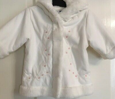 Junior J Jasper Conran Cream Ivory Coat Pink Flowers Fur Lined Age 0-3 Months