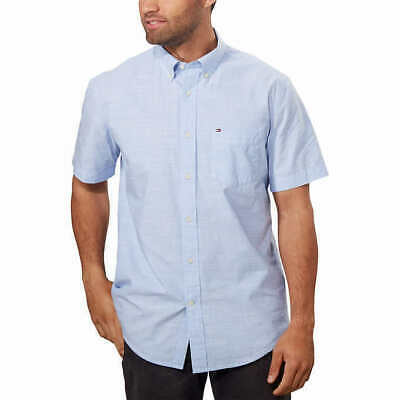Select Size * FAST SHIP * GRAY Tommy Hilfiger Men's Short Sleeve Woven Shirt