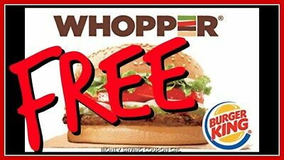 5x Burger King Free Whopper Voucher Gift Certificate