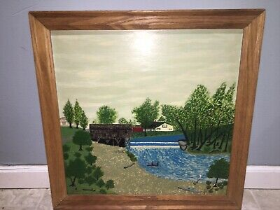 After Grandma Moses Spectacular Colorful Oil Painting Summer Afternoon Great!