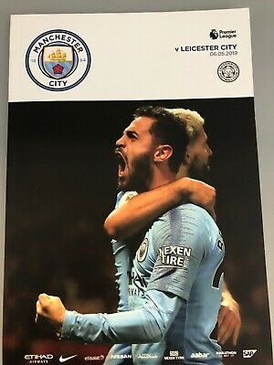 2019 Champions Manchester City Vs Leicester City Programme & Teamsheet 6/5/19 PL