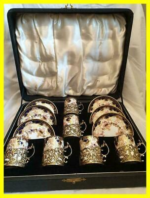 Boxed London 1908 Silver Gilt Coffee Can Holders/Saucers , Royal Crown Derby