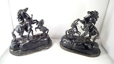 """Vintage Spelter Marley Horse with Groom Pair Statues 10"""" high 19th Century"""