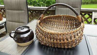 Antique Vintage Primitive 1800's OAK Woven Splint Egg GATHERING Basket Farmhouse