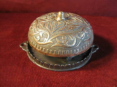 Door Bell Large Antique Brass & Cast Iron Decorative Working 1876 6 In. Base