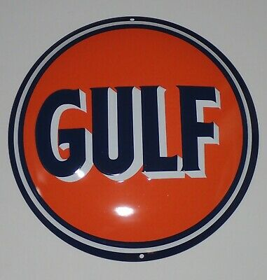 "Metal Tin Sign Emboss Wall Plaque - GULF Oil Company Gasoline Gas  -14"" Round"