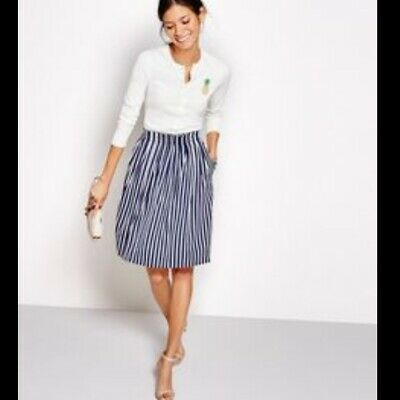 fd0a099c1b5d J.Crew Factory Women's Navy White Pleated Midi Skirt In Stripe Size 6 E9828