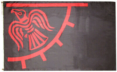3x5 Viking Raven Red & Black Odinic 3'x5' Rough Tex 100D Oxford Polyester Flag