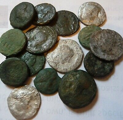LOT of 15 Ancient Greek & roman bronzes and silver coins