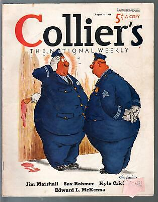 Collier's 8/6/1938-Jay Irving ice cream cover-Sax Rohmer-pulp horror-VG