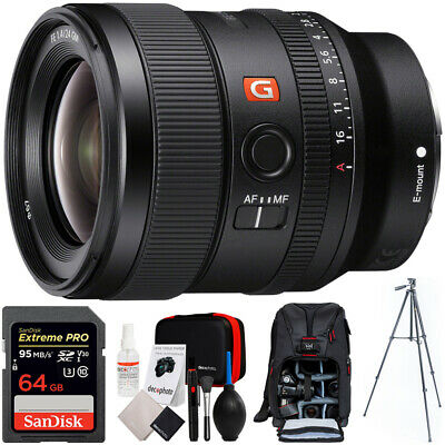 Sony FE 24mm F1.4 GM Alpha E-mount Wide Angle G Master Lens + 64GB Card Bundle