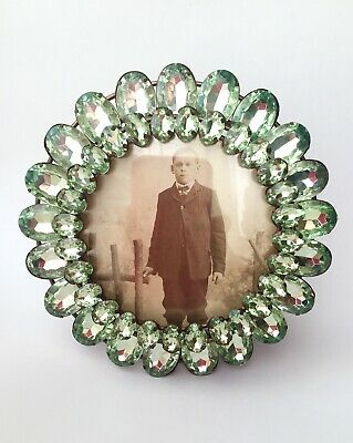 Green Glass Jewel Style Round Picture Frame Retro Kitsch Vintage Victorian