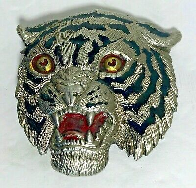 Vintage Tiger Head Wildcat Belt Buckle Metal 2142  Fast Free Shipping!!