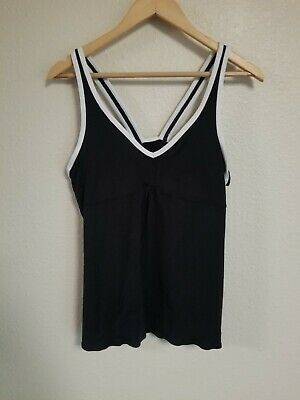 94708109195 Nike Dri-Fit Womens Tank Top Black   White Built-In Sports Bra Athletic