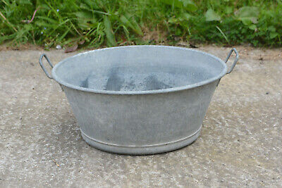 Vintage old metal round galvanized bath tub bowl 45 cm / planter- FREE POSTAGE