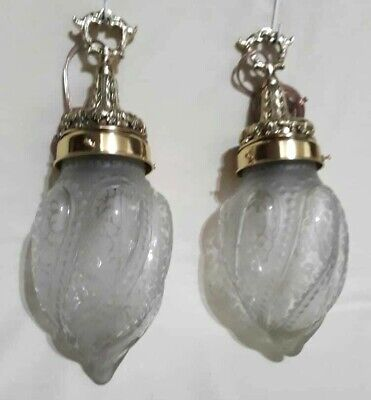 ANTIQUE BRONZE PAIR CEILING LAMP SCONCES w/ FROSTED CRYSTAL GLASS GLOBES WIRED