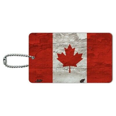 Rustic Distressed Canada Flag on Wood Luggage Card Suitcase Carry-On ID Tag
