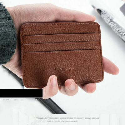 Men's Women's Leather Credit Card Holder Wallet Case Mens Front Pocket Sleeve