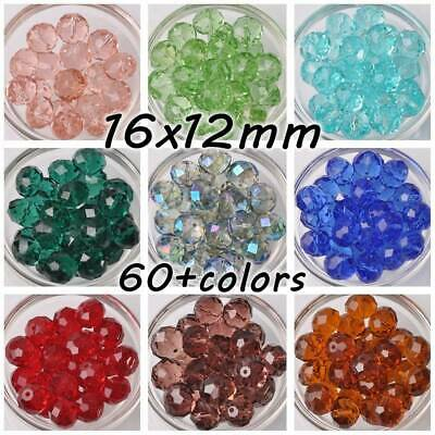 10pcs Large 16mm(16x12mm) Rondelle Faceted Crystal Glass Loose Beads DIY Jewelry
