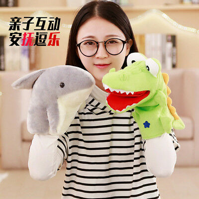 plush toy cartoon shark crocodile hand puppet baby toy appease doll tell story