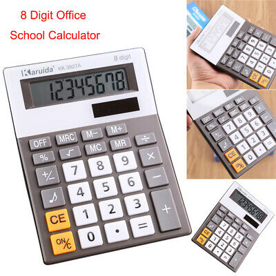 8 Digit Office School Calculator Battery Home Desk Large Button Dual Solar Power