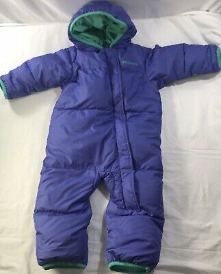 beed1d61f Toddlers Columbia Snow Suit Purple Teal Warm Winter Snowsuit One Piece  12-18 Mos