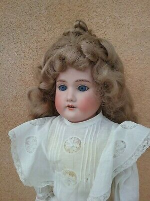 Armand Marseille antique bisque head Floradora porcelain A M kid leather German