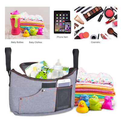 Baby Organizer Waterproof Storage Bag For Stroller Pram Pushchair Grey PS353