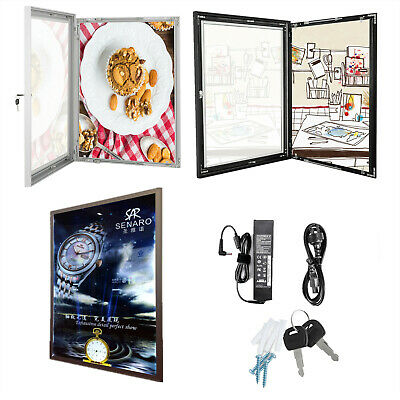 A3/A2/A1 Lockable Poster Frame Menu Outdoor Display Case Wall Mount Notice Board