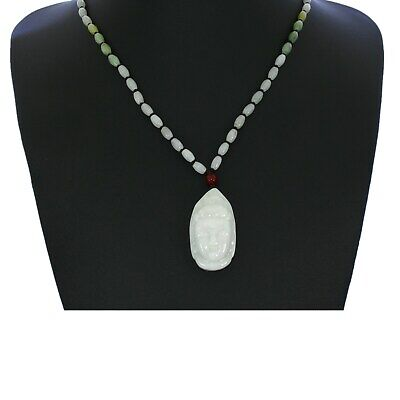 """1.7""""China Certify Grade A Nature Hisui Jadeite Jade Bless Guanyin Head Necklace"""