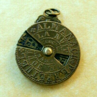 Antique French Gold-Plated Brass Perpetual Calendar Charm Movable Dial