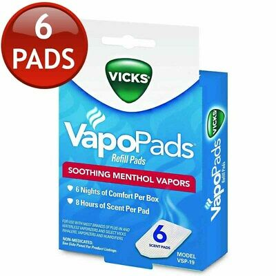 Vicks Vapopads Refill Pads 6 Soothing Menthol Vapors Non-Medicated 8 Hrs Scent