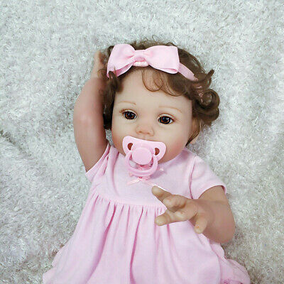 "18""Full Silicone Vinyl Handmade Lifelike Reborn Baby Doll Newborn Girl Dolls Toy"