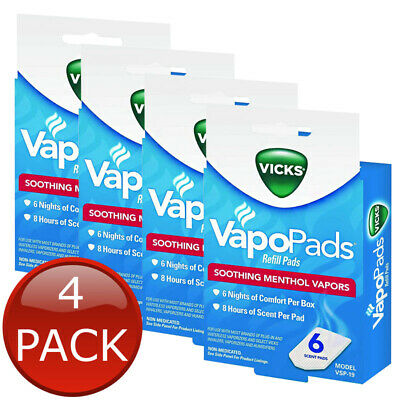 4 x VICKS VAPOPADS REFILL PADS 6 SOOTHING MENTHOL VAPORS NON-MEDICATED 8 HRS