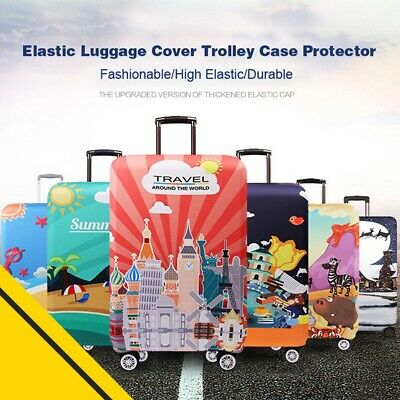 Tourism Theme Elastic Luggage Trolley Case Cover Suitcase Protector 18-32 Inch
